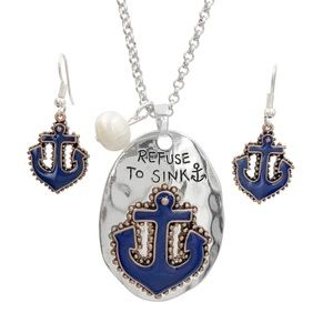 Refuse To Sink Anchor Long Necklace Earrings Set
